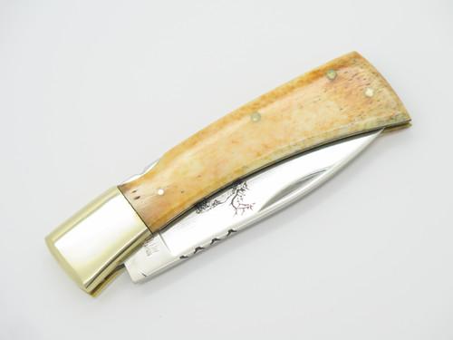 "Vtg NOS '80 Taylor Cutlery Elk Horn 4"" Smooth Bone Folding Lockback Pocket Knife"
