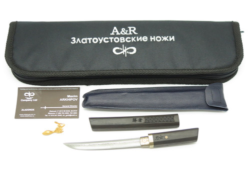 A&R RUSSIA CUSTOM MINI DAMASCUS SAMAURAI TANTO FOR SEKI JAPAN KNIFE SHOW