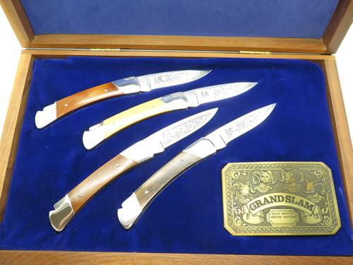 Vintage 1981 Buck 501 Squire Grand Slam Etch Folding Lockback Pocket Knife Set