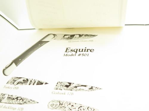 Vtg 1977 Buck Aurum Etch Literature Brochure for 401 Fixed 110 112 Folding Knife