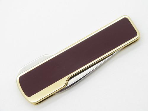 Vtg Kai Cut Seki Japan Maroon Gentleman Folding Lockback Pocket Knife