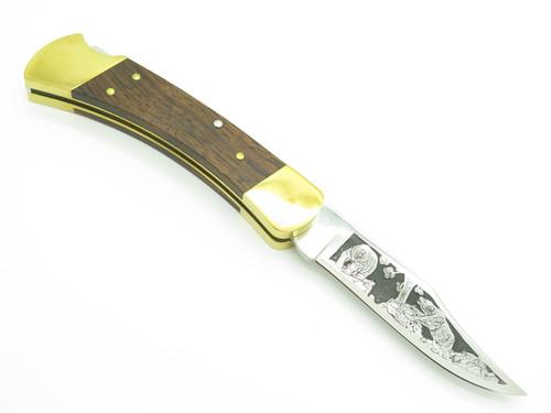 Vintage 1977 Buck 110 Bear Aurum Etch Folding Huter Lockback Knife