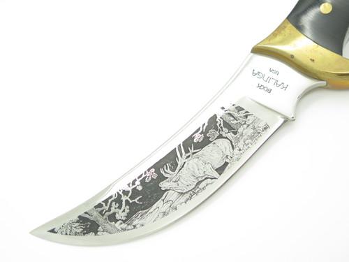 Vintage 1977 Buck 401 Kalinga Elk Aurum Etch Fixed Blade Hunting Knife
