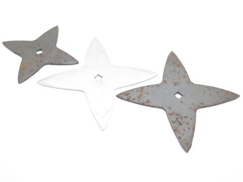 Lot of 3 Vintage 1980 Valor Shuriken Ninja Seki Japan Tak Fukuta Stainless Steel 4 Point Throwing Star