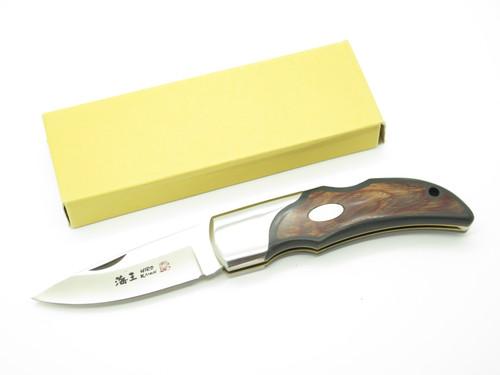 "Vintage 1996 Hiro Seki Japan 5"" AUS6 Wood Folding Hunter Lockback Pocket Knife"