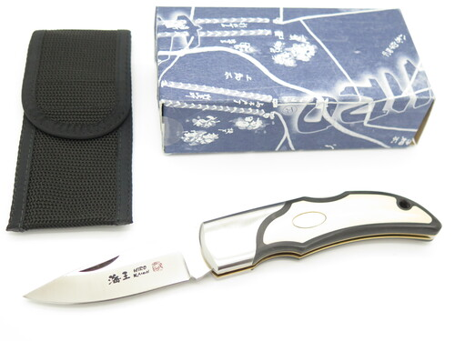 "Vintage 1996 Hiro Seki Japan 5"" AUS6 Micarta Large Folding Hunter Lockback Knife"