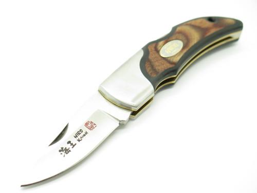 "Vintage 1996 Hiro Seki Japan 4"" AUS6 Wood Gent Folding Hunter Lockback Knife"