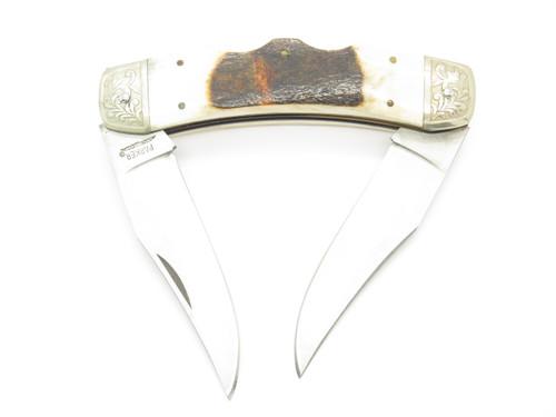 Vtg Parker Fukuta Seki Japan Stag Texas Longhorn Scrolled Folding Lockback Knife