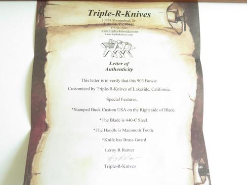 "Vintage Custom Leroy Remer Buck 903 Bowie Mirror 440C Fixed Blade Big 15"" Knife"