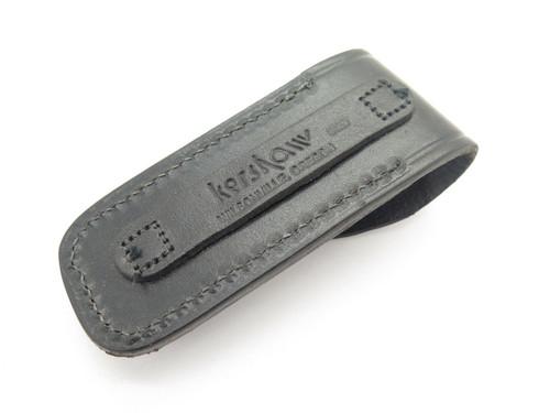 NOS Kershaw 1320 Folding Hunter Knife Black Leather Sheath USA Made
