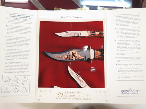Vintage 1991 Schrade Custom USA WWII 50th Anniversary Stag LB7 Bowie 7 Knife Set