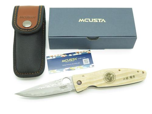 Mcusta Seki Japan Kenshin MC-185G Wht Micarta SPG2 San Mai Folding Hunter Knife