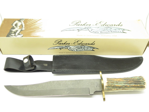 Vintage 1980s Parker Edwards USA Stag Fixed Blade Damascus Bowie Knife