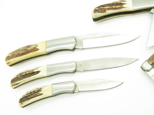 Vtg Kershaw Oregon Japan Premier Edition Officer Ranch Stag Folding Knife Set