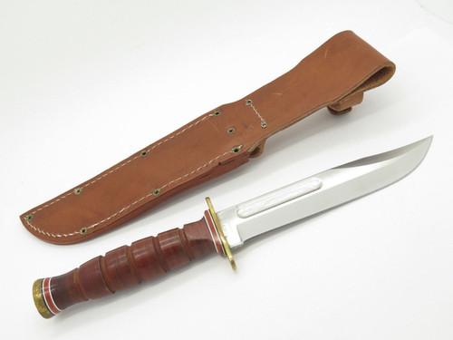 Ontario P4 6311 Marine Combat USMC Survival Fixed Blade Knife Leather Sheath
