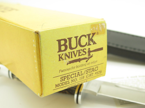 Vintage 1990 Buck USA 119 Special Stag Fixed Blade Hunting Knife in Box