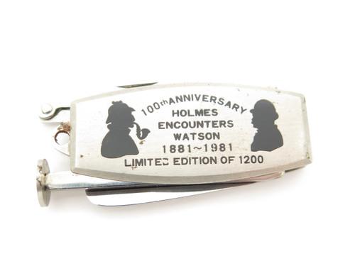 Vtg 1981 Sherlock Holmes Watson 100 Anniversary Folding Knife Tobacco Pipe Tool
