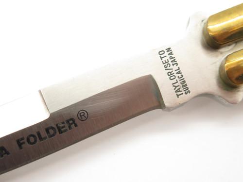 Vintage Taylor Seto G-974 Manila Folder Seki Japan Wood Brass Folding Balisong Butterfly Knife