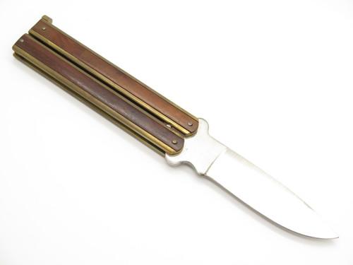 Vintage Taylor Seto Golden Dragon Folder Seki Japan Wood Brass Folding Balisong Butterfly Knife