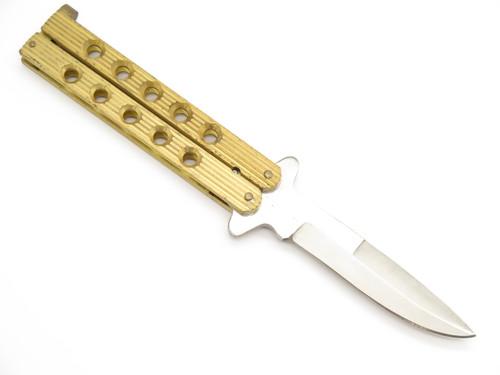 "Vintage Seto Borazon Edge Seki Japan 4.25"" Brass Folding Balisong Butterfly Folder Knife"