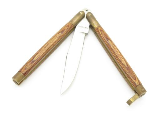 """Vintage 1980s Frost Cutlery Seki Japan 4.75"""" Wood Handle Folding Balisong Butterfly Knife"""