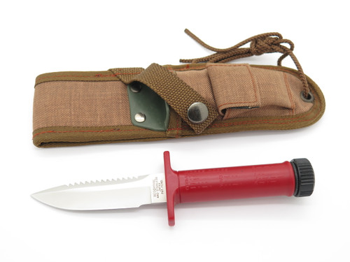 Vintage Resqvival Attack Red Seki Japan Small Fixed Blade Hunting Survival Knife
