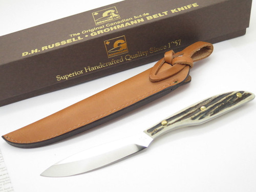 Vtg Grohmann Dh AG Russell 2 Bird & Trout Fixed Blade Hunting Knife Stag DHR-H2s