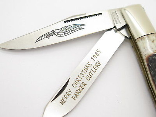 """1985 MERRY CHRISTMAS"" PARKER SEKI JAPAN STAG TRAPPER FOLDING POCKET KNIFE"