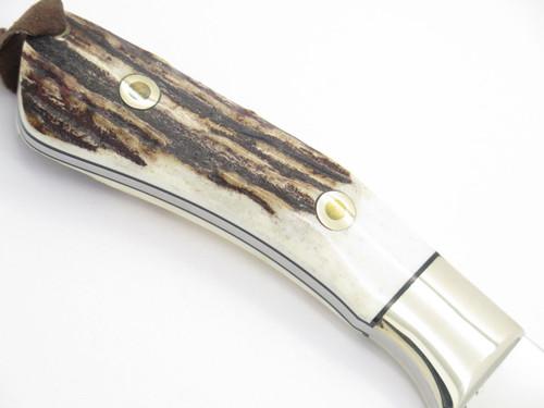 Junglee Tak Fukuta Custom Seki Japan Lg Fixed Blade Gut Hook Knife Stag & AUS-8