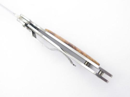 Vtg Seki Cut SC-145 Burlwood Folding Pocket Knife ATS-34 Tanto By G. Sakai