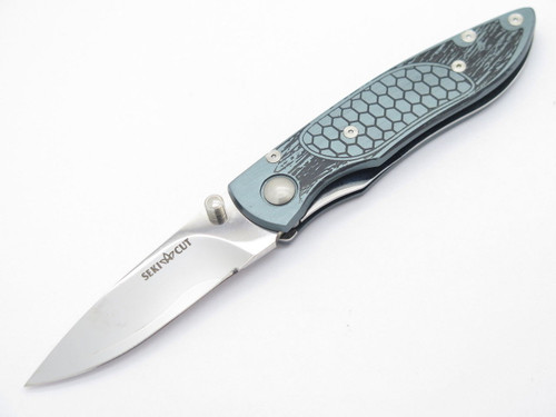 Vtg Seki Cut SC-160 Green Folding Knife San Mai VG-10 Blade & Aluminum By Hiro