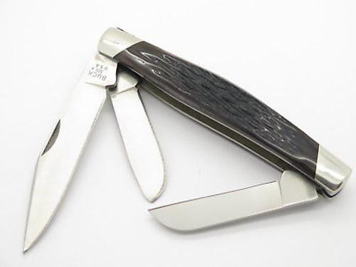 Vtg 1991 Buck 301 Large Stockman 3 Blade Folding Pocket Knife Brown Bone