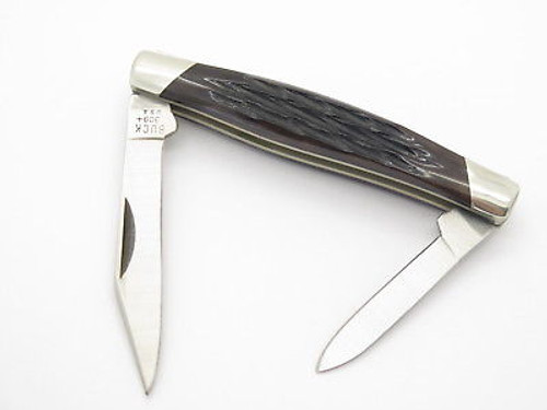 Vtg 1991 Buck 309 Companion Medium 2 Blade Folding Pocket Knife Brown Bone
