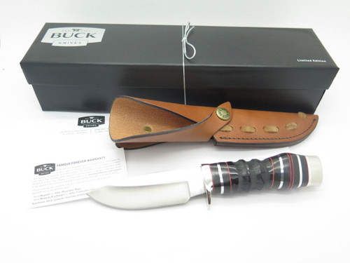 BUCK 192 VANGUARD BG-42 CUSTOM SHOP JIGGED BUFFALO HORN FIXED BLADE HUNTING KNIFE