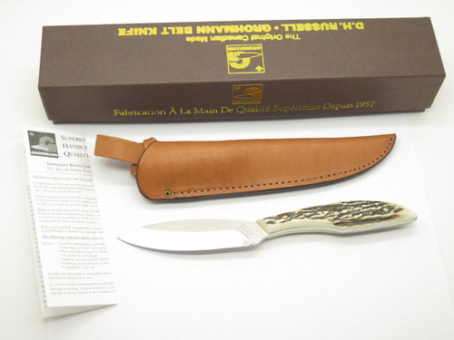 Vtg Grohmann DH AG Russell 1 Belt Fixed Blade Hunting Knife Stag DHR-H1s Mint