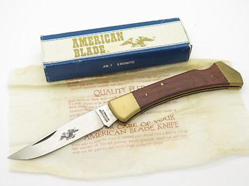 Vtg American Blade Parker Seki Japan Wood Handle Folding Hunter Knife