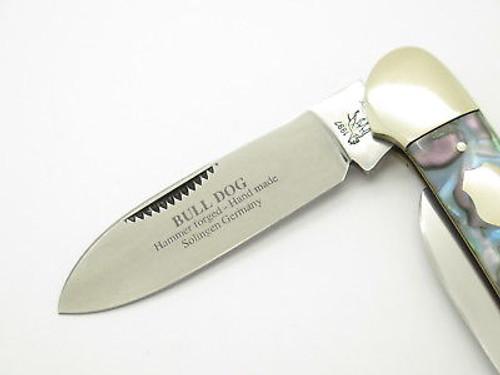 Vintage 1997 Bulldog Brand Solingen Abalone Swirl Canoe Folding Pocket Knife