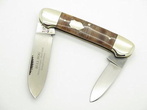 VINTAGE 1997 BULLDOG BRAND SOLINGEN BROWN HANDLE CANOE FOLDING POCKET KNIFE