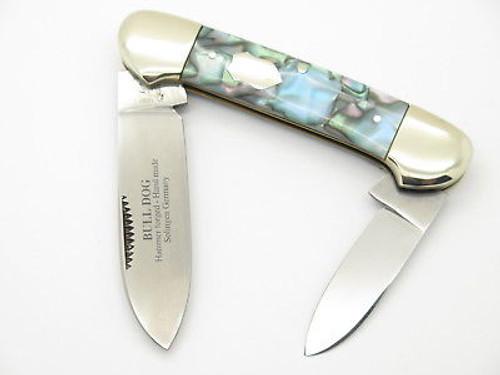 VINTAGE 1997 BULLDOG BRAND SOLINGEN BLUE ABALONE SWIRL CANOE FOLDING POCKET KNIFE