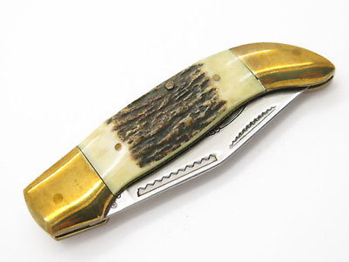 Vtg 1980s Parker Seki Japan Stag Mini Folding Hunter Clasp Pocket Knife