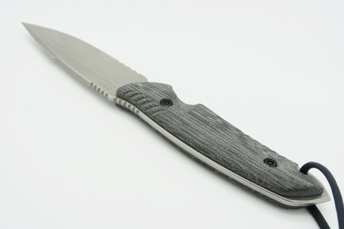 THE ATTLEBORO USA CMPS35VN STONEWASH SERRATED FIXED BLADE TACTICAL HUNTING KNIFE
