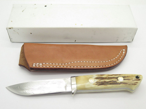 Seizo Imai Seki Custom Loveless LG Hunter Stag VG-10 Damascus Fixed Knife