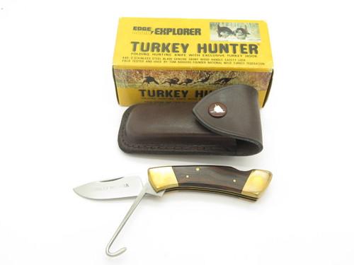 Vtg Explorer 11-330 Turkey Folding Hunter Seki Japan Lockback Knife & Sheath NOS