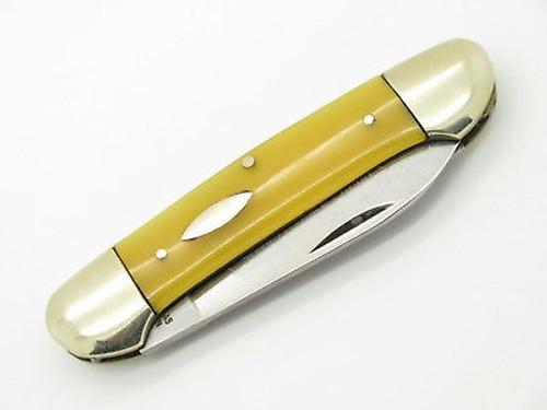 Vtg '73 Robt Klaas Kissing Crane 2626 Solingen Yellow Canoe Folding Knife