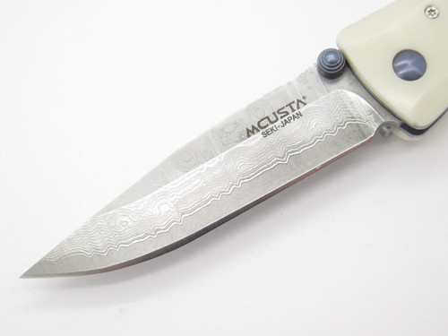 MCUSTA SEKI JAPAN BASIC MC-15D WHITE CORIAN VG-10 DAMASCUS FOLDING POCKET KNIFE