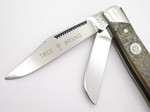Vtg 1970s Boker USA Tree Brand 9885 3 Blade Stockman Folding Pocket Knife