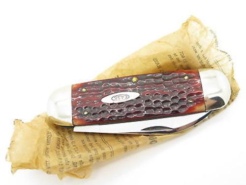 VINTAGE 1940-1964 CASE XX 6250 SUNFISH ELEPHANT TOENAIL FOLDING KNIFE RED BONE