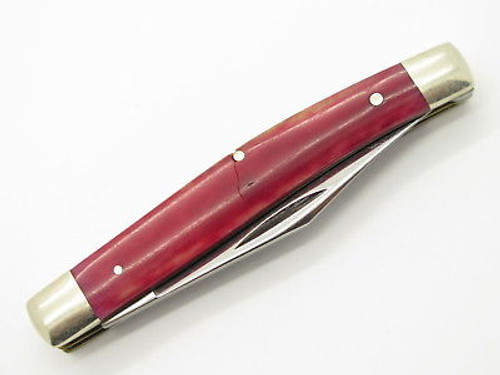 Vtg 1980 Case XX 6244 Red Appaloosa Bone Folding Pocket Jack Knife *chip