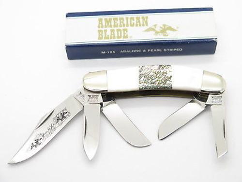 VINTAGE AMERICAN BLADE PARKER SEKI JAPAN PEARL ABALONE SOWBELLY FOLDING KNIFE