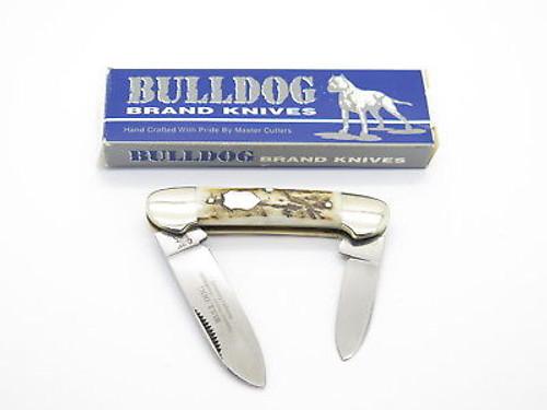 VINTAGE 1997 BULLDOG BRAND SOLINGEN STAG HANDLE CANOE FOLDING POCKET KNIFE